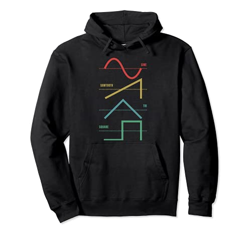 Vintage Analog Synthesizer Techno Waveform - Synth Nerd Pullover Hoodie