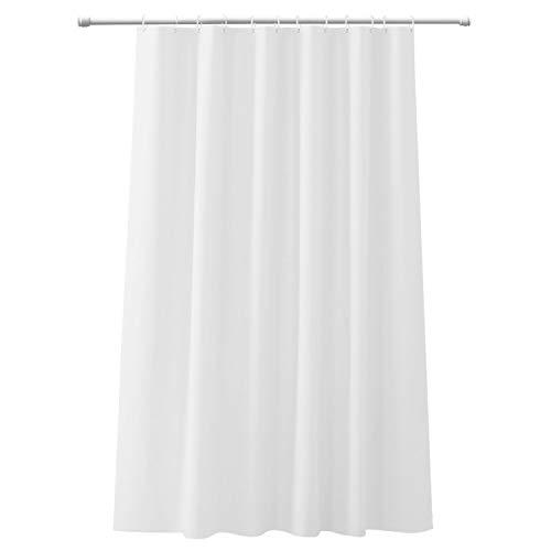 CLOFY Duschvorhänge, Duschvorhang aus Polyester, 200 x 200 cm, Anti-Schimmel, Uni Grey - Anti-Bakteriell,Wasserdichtes Design, mit 12 Duschvorhangringen, Weiß