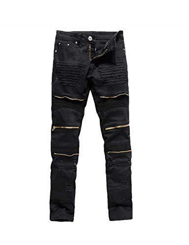 Rexcyril Men's Moto Biker Jeans Distressed Ripped Skinny Slim Fit Denim Pants with Zippers Black W34