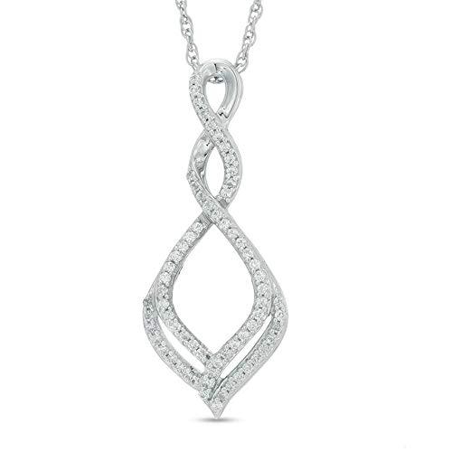 SLV Colgante con forma de infinito en cascada de diamantes de 1/4 ct T.W. D/VVS1 para mujer en plata de ley 925