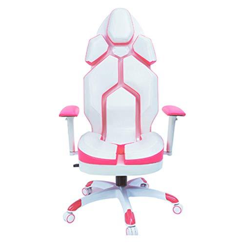 LORYLOLY Spielstuhl, Gaming Stuhl Ankerstuhl Prinzessin Mode Weiß Rosa Computerstuhl Home Gaming Stuhl Gaming Live Sessellift Drehstuhl