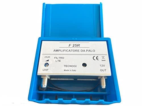 Vsnetwork Amplificador antena TV de mástil con filtro Lte/4G, ganancia máxima de 25 dB ajustable, amplificador antena TV 1 entrada UHF