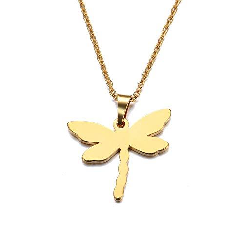 Collar de acero inoxidable para hombres y mujeres Colgante Libélula Color Oro y plata Joyería de compromiso-Color dorado