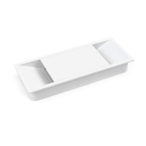 Emuca - Tapa pasacables para encastrar en escritorio/mesa, organizador de cables para mueble, varias medidas y acabados (152x61mm (1 un), Blanco)