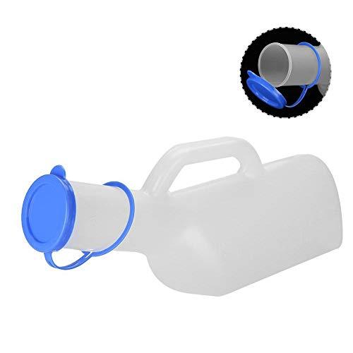 Botella de orina masculina, portátil de 1000 ml, para almacenamiento de orina al aire libre, recolector de orina móvil con tapa, para niños y adultos, para contenedores de viaje, camiones y hospitales