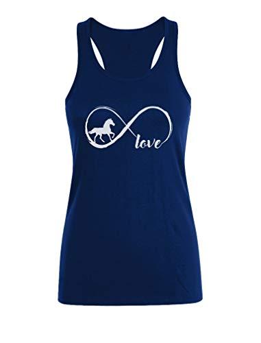 Camiseta sin Mangas para Mujer - Ropa de Caballos - Horse Infinity Love Medium Azul Oscuro