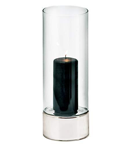 EDZARD Windlicht Granada, Keramik silberfarben und Glas, Durchmesser 9 cm, Höhe 25 cm