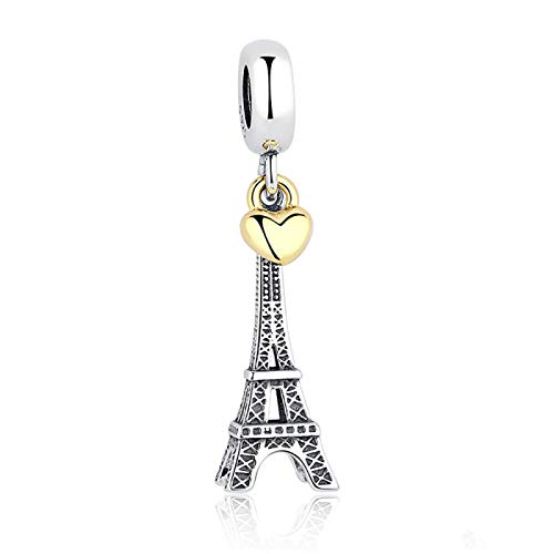 LILIANG Charm Jewelry 100% 925 Sterling Silver Torre Eiffel Cuelga Los Encantos con Un Pequeño Corazón De Color Dorado Fit Pulsera Original DIY Jewelry