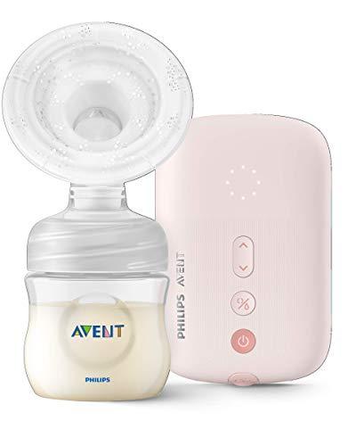 Philips Avent SCF395/11 - Sacaleches eléctricos individual silencioso con cojín masajeador, 8 ajustes de estimulación y 16 de extracción, biberón natural de 125 ml incluido, color rosa