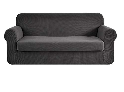E EBETA Tunez Funda sofá Duplex, Funda de sofá, Tejido Jacquard de poliéster y Elastano, Funda de Clic-clac elástica Cubiertas de sofá de 2 Plaza (Gris Oscuro, 145-185 cm)