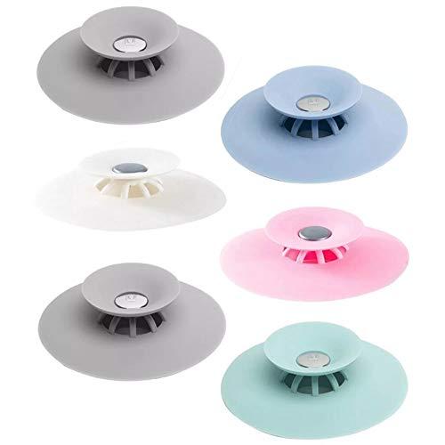 6Pcs Tappo per Vasca da Bagno Filtri per lavello,Tappo per lavello da Cucina,Raccoglitore per Capelli con Foro per Spina, Filtro per lavello per Doccia Multifunzione 2-in-1 Multi-Colori