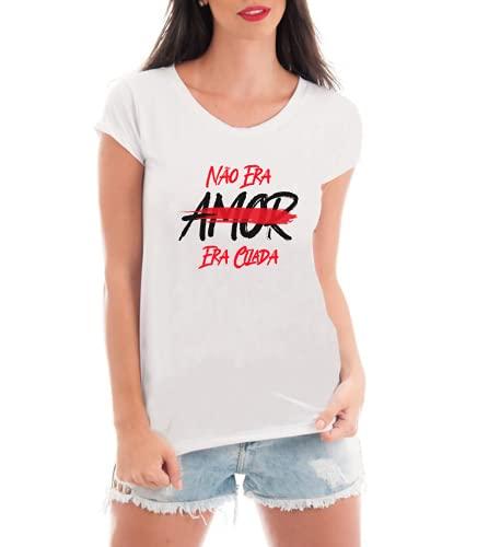 Camiseta Feminina Frase Não Era Amor Era Cilada - Camisa Divertida e Engraçada - Personalizada (Branco, GG)