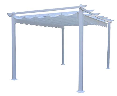 Milani Home s.r.l.s. Gazebo di Design 3 X 4 in Alluminio Super Robusto con Telo Bianco per Esterno E Giardino
