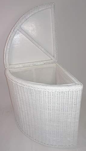 Rattan Eckwäschekorb, Wäschekorb, Wäschebehälter Fb. weiß lackiert 50 x 50 x 62 cm
