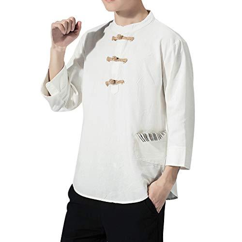 HHyyq Herren Sommer lässig Baumwolle Leinen Retro-Stil Halbarm T-Shirt Top lässig Baumwolle Leinen Schnalle Fünf-Punkt-Ärmel T-Shirt Top(Weiß,XXXL)