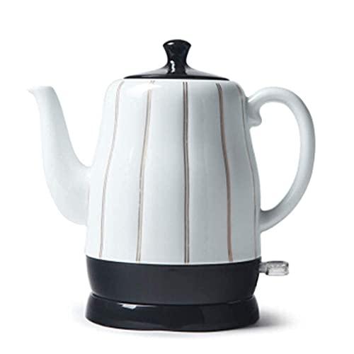 XBR Tetera eléctrica de cerámica Blanca inalámbrica, Jarra Retro de 1,7 l, 1350 W hierve Agua rápidamente para té, café, Sopa, Avena, Base extraíble, protección para hervir en seco