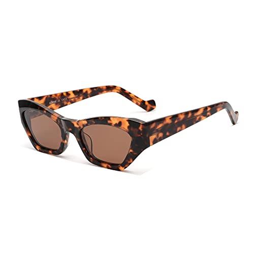 GLINDAR Gafas de Sol Polarizadas de Ojo de Gato para Mujer con Montura de Acetato de Ojo de Gato Estrecho Leopardo