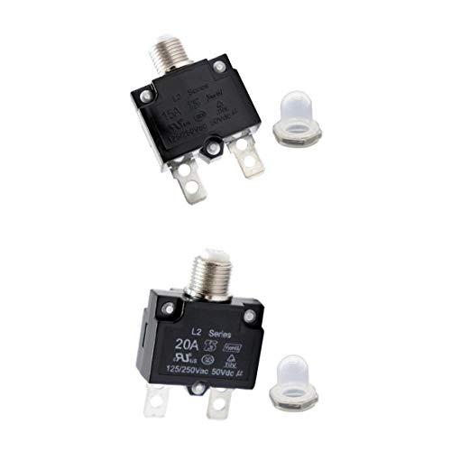 prasku Panel Térmico Reiniciable con Botón Pulsador de Disyuntor de 2 Piezas 125 / 250V, 15A + 20A