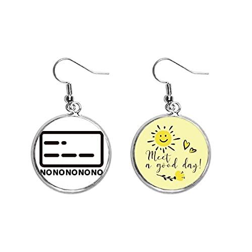 Sin puntos de representación de línea Morse Code Ear Drop Sun Flower Pendiente Joyería Moda
