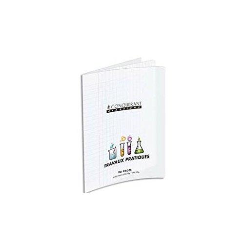 CONQUERANT9 Cahier Travaux Pratique piqûre A4 48 pages seyès+48 pages unies. Couvertures PP incolore