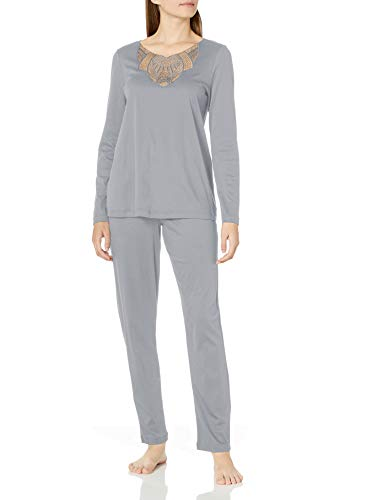 HANRO Juego de pijama de manga larga Adina para mujer - Gris - S
