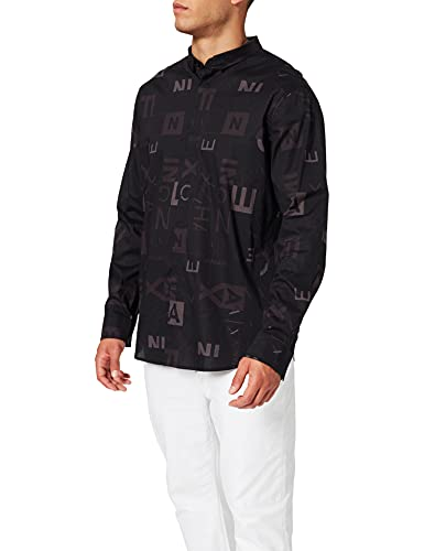 ARMANI EXCHANGE Stretch Cotton Popeline Black Crop&Square Shirt Camicia, XL Uomo
