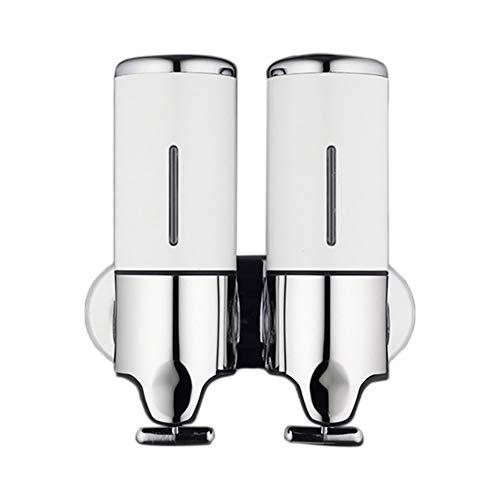 Kentop - Dispensador de jabón dual con fijación a la pared, dispensador de jabón líquido rellenable, dispensador de jabón para gel de ducha, champú (blanco)