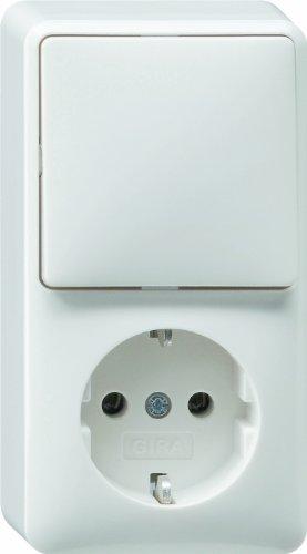 Gira Kombination 017613 Wechsel + SCHUKO AP reinweiss, Weiß
