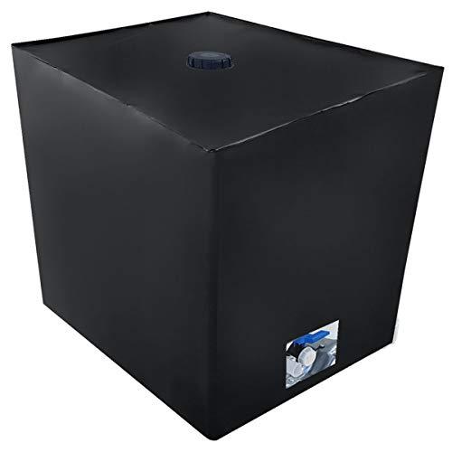 REKUBIK IBC Cover UV-Schutz Folie mit Lochauschnitt in Schwarz Tankgröße 800l IBC (120x80x116cm)