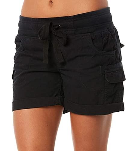 Mitidi Womens Elastic Waist Cargo Shorts with Pockets (Black, XXL, xx_l)