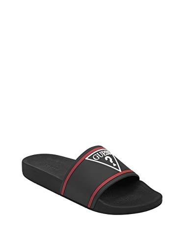 GUESS Factory Men's Elvern Logo Slide Sandals Black Jelly