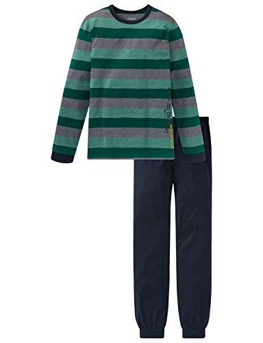 Schiesser Jungen Anzug lang Zweiteiliger Schlafanzug, Blau (Nachtblau 804), (Herstellergröße: 164)