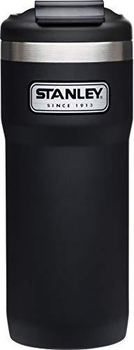 Stanley Legendary Classic Vakuum-Thermobecher mit Verschluss-Bügel, 0.47 L, Mattschwarz, 18/8 Edelstahl, Doppelwandig Vakuumisoliert, Isolierbecher Kaffeebecher Teebecher Trinkbecher