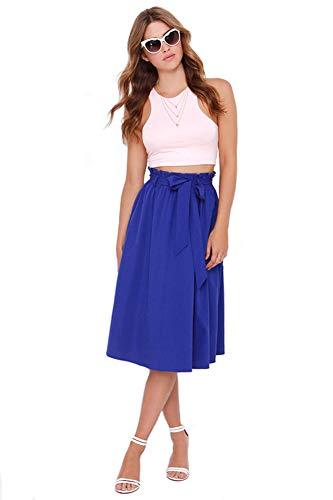 Minasan Sommer Mode Schöne Hohe Taille Midirock Elegant Blau Knielang A Linien Rockabilly Röcke mit Bund für Damen Frauen L