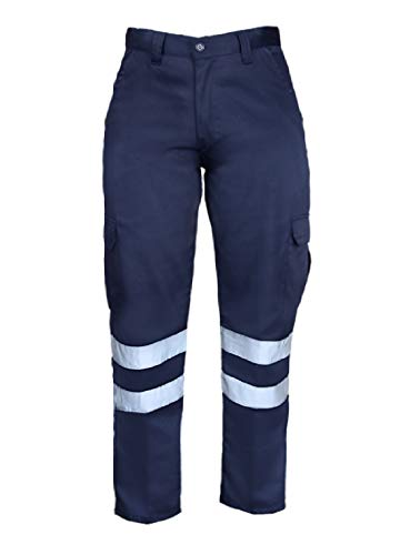 Just In Trend High Visibility Hi Vis Safety Work Pant/Trouser (W30 x L30, Navy Blue)