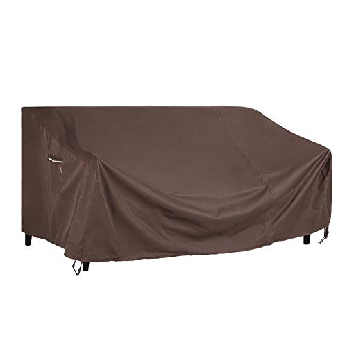 SONGMICS Deep Seat Sofa Cover, Patio Sofa Cover, Waterproof Outdoor Furniture Cover, 90 x 38 x 30/19 Inches, Brown UGSC260R01