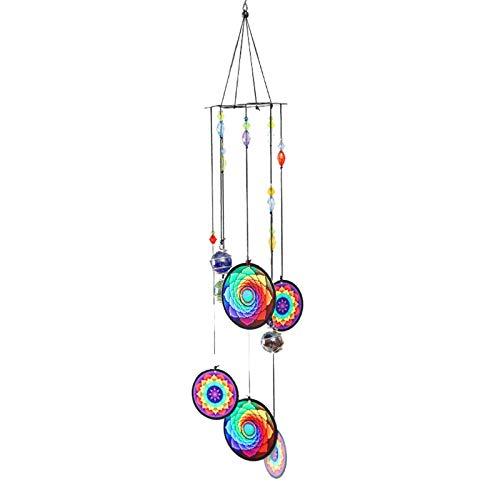 Campanas de viento, bola de cristal colgante de metal conmemorativo campanillas de viento de jardín, patio, decoración colgante de simpatía regalo para la decoración del hogar (B)