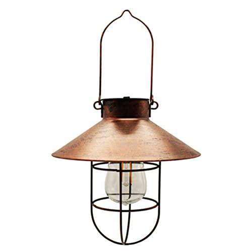 SFWEFWFAFAF Lámpara colgante solar hierro forjado tungsteno filamento lámpara patio jardín exterior colgante antiguo
