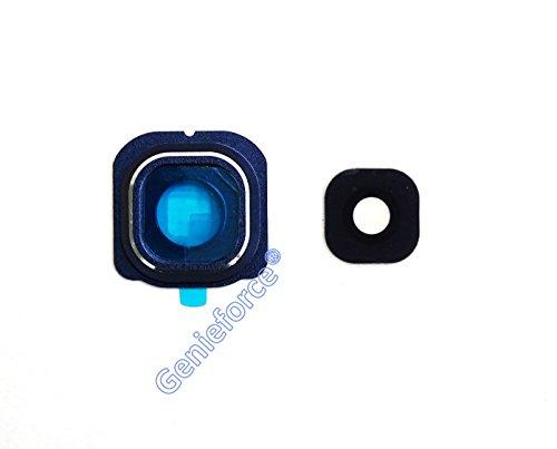 Premium Kameralinse Set für Samsung Galaxy S6 Edge SM-G925F G925F - SCHWARZ / BLAU - Komplett 3-in-1 Set Kameralinse Glas + Rahmen + 3M Doppelseiter Klebestreifen - SCHWARZ / BLAU - NEU ֎