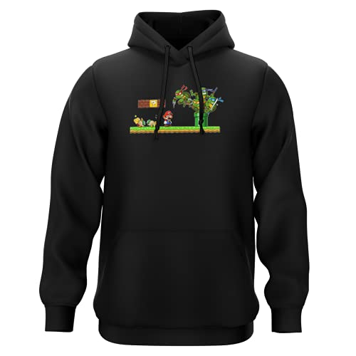 Sweat-Shirt à Capuche Noir Parodie Tortues Ninja - Super Mario - Leonardo, Raphael, Donatello, Michelangelo et Mario - La Revanche des Tortues (Super Deformed Edition) (Sweatshirt de qualité Premi