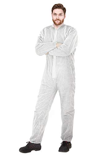 AMZ Disposable Overall. White Adult Overall Medium. 100% Virgin Polypropylene Fabric Apparel with Zipper Front Entry and Elastic Wrists. Unisex Workwear for Industrial Application.