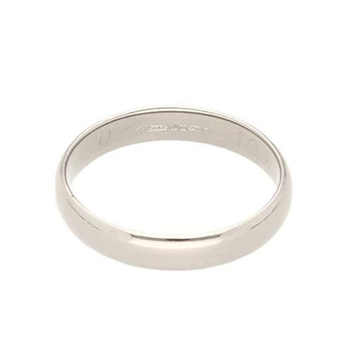 Jollys Jewellers Alianza de boda para hombre, oro blanco de 18 quilates, estilo tribunal, talla O, 3 mm de ancho