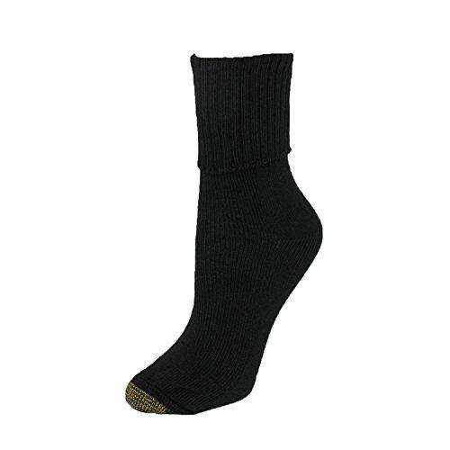 Gold Toe Women's Bermuda Plus Turn Cuff Sock, Black size 10-12