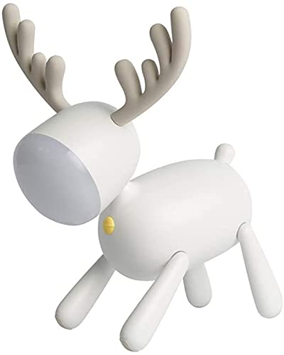 Makeupart Elk Deer Rotary Night Light Tail Tiempo Ajustable Lámpara USB Decoración de Dormitorio para niños Decoración de Escritorio Blanco (Color : White)