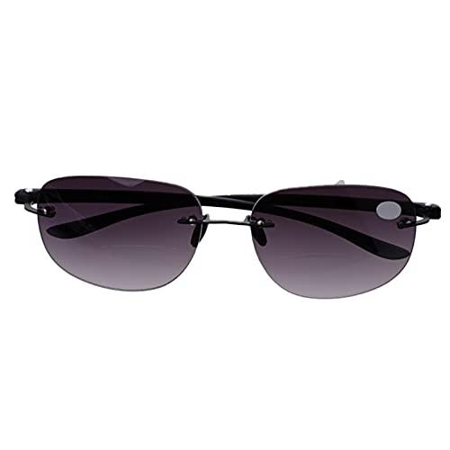 yqs Gafas de Lectura Gafas de Lectura bifocales de Pesca sin Montura al Aire Libre lectores de Gafas de Sol +1.0 a +3.5 (Eye Prescription : +350)