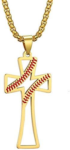 Ahuyongqing Co.,ltd Collar Collar Vintage Hueco Cruz Latina Hombres Collar Patrón de béisbol Collares Pendientes Joyería de Acero Inoxidable Dorado