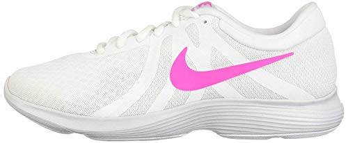 Nike Women's Revolution 4 Running Shoe, White/Laser Fuchsia-Pure Platinum, 8...