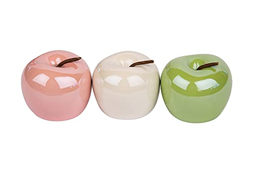 Boltze 3 x Apfel Perly Porzellan 7,5 cm