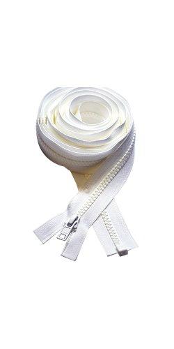 "90""–160"" Zipper ~ Long Arm Quilting Machine Zipper ~ YKK #5 Molded Plastic ~ Separating Color Black or White (1 Zipper/Pack) (126 inch, White)"