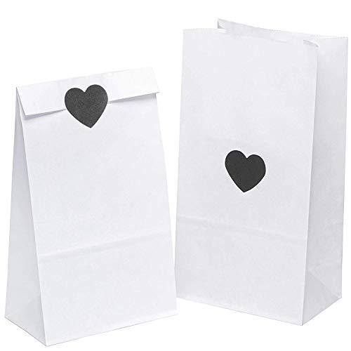 kgpack 50 STK. Papiertüten klein mit ? Aufklebern 14x26x8cm Bodenbeutel Obstbeutel Mitgebseltüten Butterbrottüten Süßigkeiten Geschenkverpackung Gastgeschenke Tüten aus Weiß Kraft Geschenkpapier